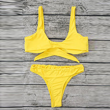 Women 2018 Sexy Bowknot high cut Bikini Set Yellow Swimsuit Push Up Padded Bra Beach Swiming suit