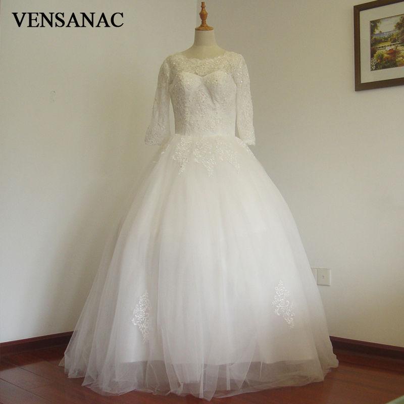 VENSANAC 2017 새로운 라인 구슬 보트 목 3 분기 슬리브 - 웨딩 드레스