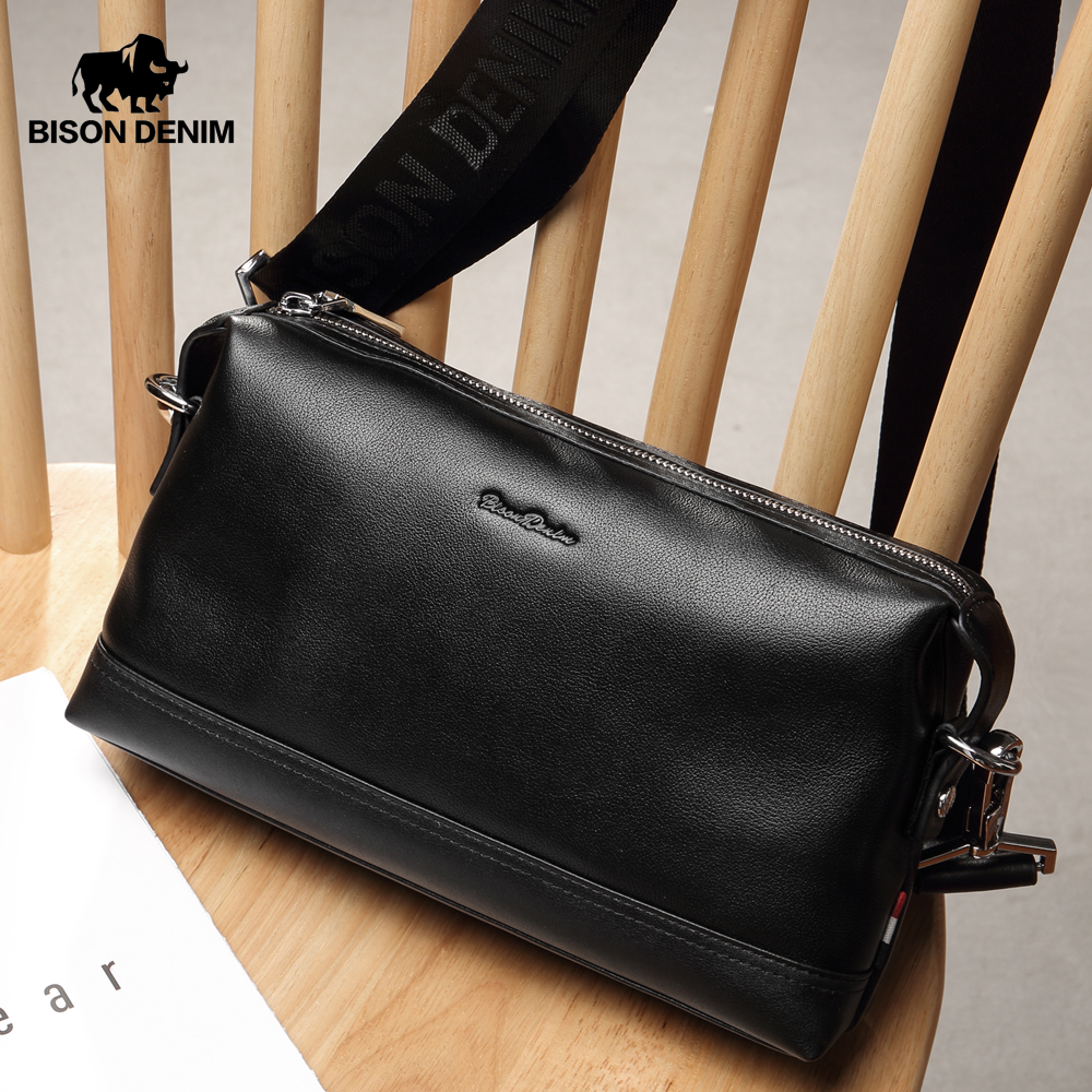BISON DENIM Genuine Leather Men Bag Multifunctional Messenger Bag iPad Clutch Bag 3 Usage Casual Shoulder