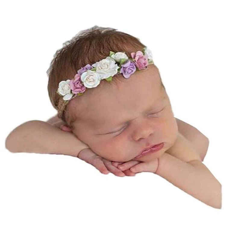 HairBands Girls Headbands Baby Newborn Infant Flower Crown Headband Photo Prop Baby Flower Wrap Headband Headbands Accessories