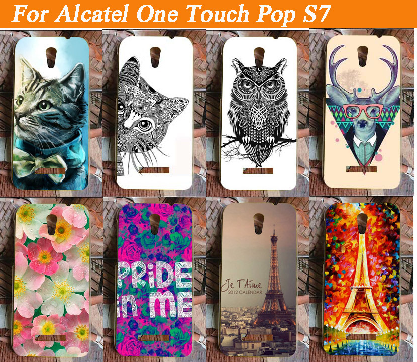 High quality Phone Case Painted PC Hard Shell Case Back Cover For Alcatel One Touch Pop S7 OT7045 7045A <font><b>7045Y</b></font> DIY Item image