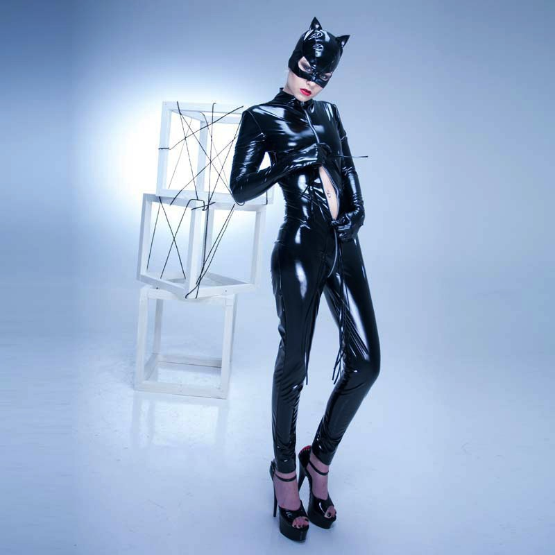 Grande taille S-XXL PVC Latex adulte femmes PU cuir Catsuit Sexy Catwoman Costume chat masque Latex body extensible entrejambe ouvert - 5