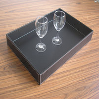 Ever Perfect Red Wine Cup holder Large Rectangle PU Leather Storage Serving Tray Fruit Sugar Cups Tray Container Case