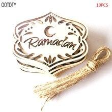 10pcs/set Wooden Hollow Laser Cut Ornament DIY Islam Eid Muslim Ramadan Hanging Pendant Moon Baubles Home Decoration