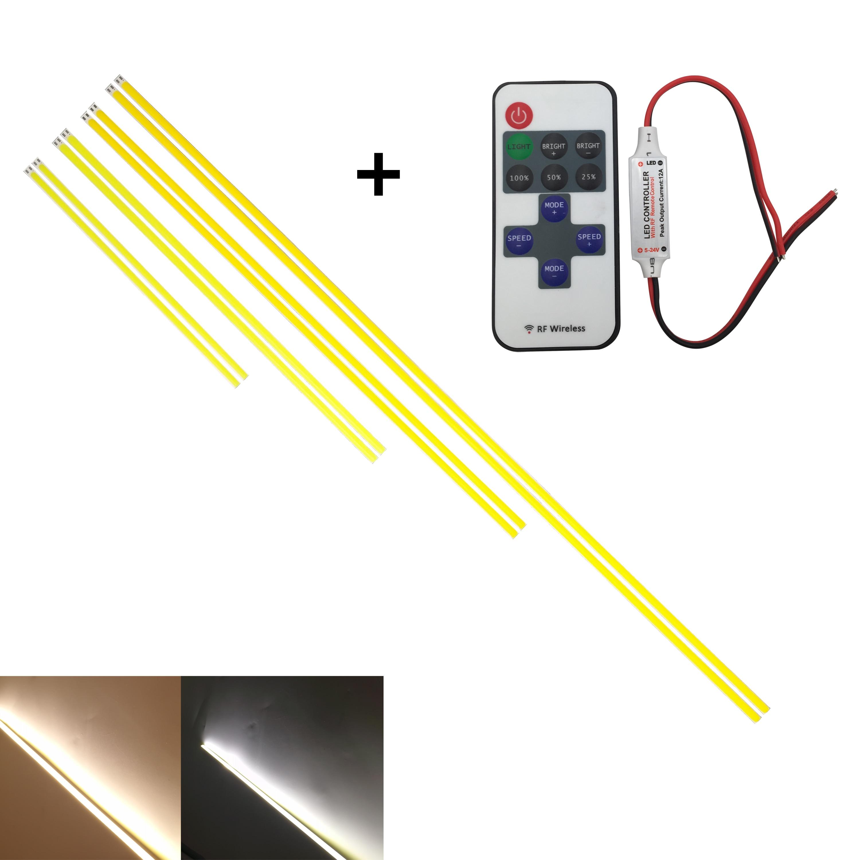10PCS 5PCS 200mm 300mm 400mm 500mm 600mm Flexible 12V Led Cob Strip Bar Light With Wireless RF Controller For Auto Light