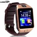 Langtek smart watch dz09 relógio suporte de sincronização notificador conectividade bluetooth para android apple iphone smartwatch telefone do cartão sim