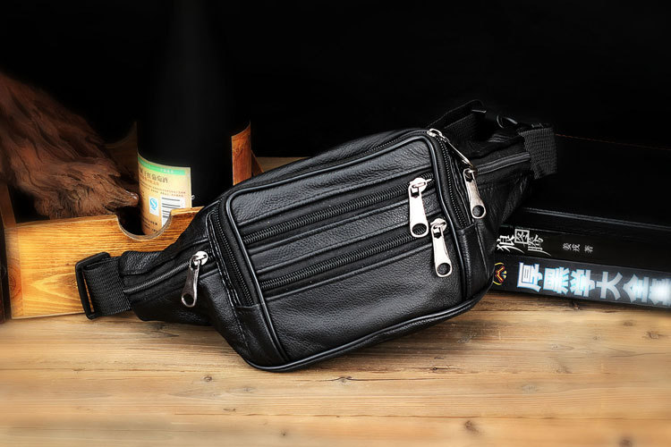 Topdudes.com - Genuine Cowhide Leather Travel Waist Bag For Men