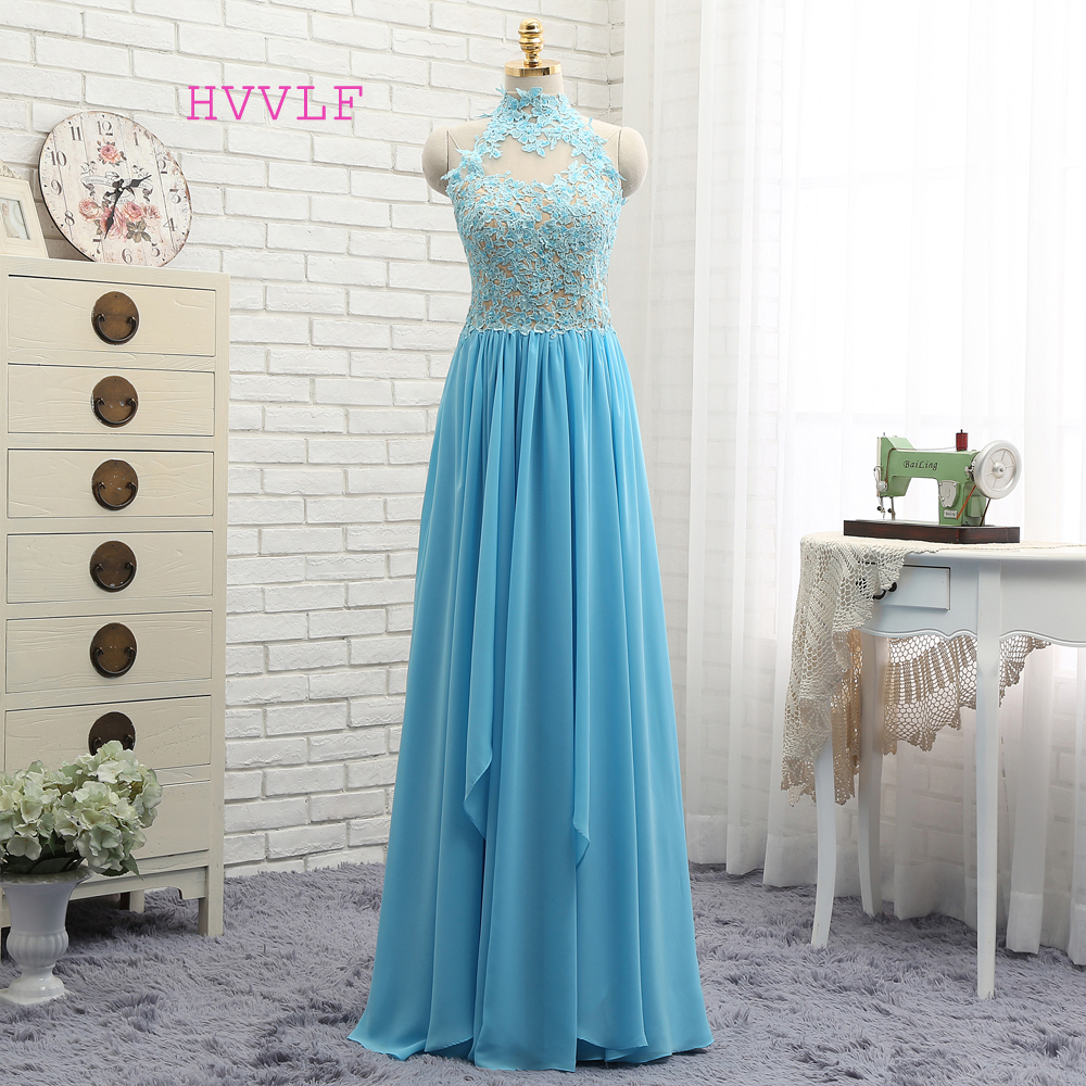 New Open Back 2019   Prom     Dresses   A-line High Collar Sky Blue Chiffon Lace Sexy Long   Prom   Gown Evening   Dresses   Evening Gown