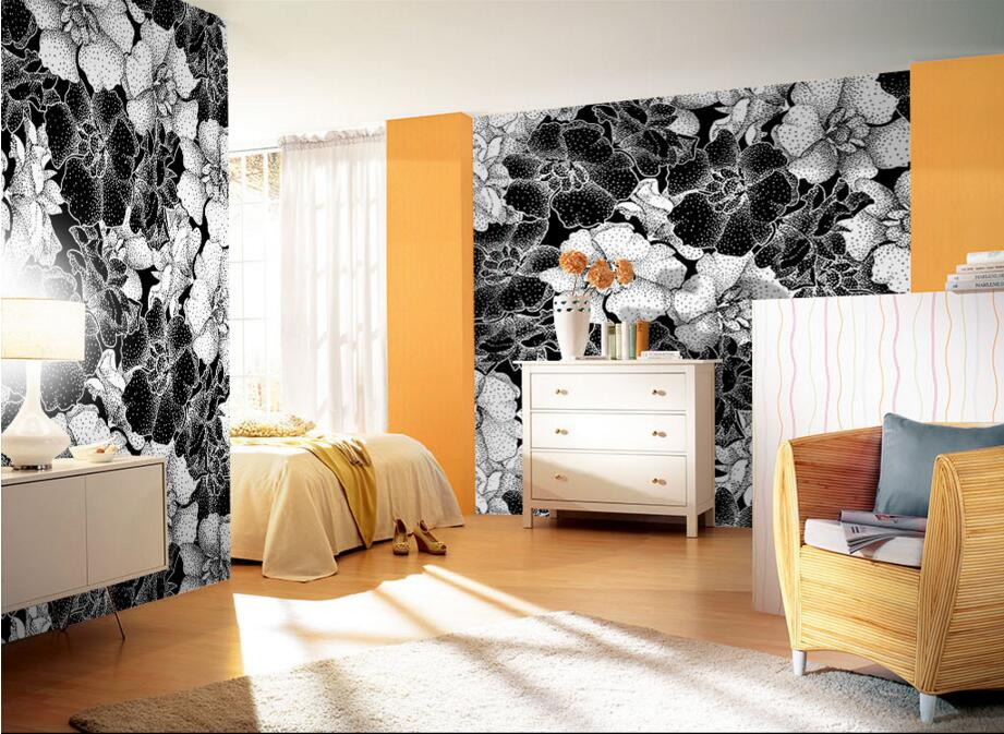 Custom retro wallpaper,Abstract black and white flowers,3D murals for living room bedroom hotel KTV wall waterproof wallpaper 3d wallpaper ceiling custom photo wall paper cool and refreshing summer fruit bedroom ktv hotel bar living room