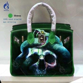 Gamystye Brand 2018 Women Genuine Leather Handbag Messenger Bags Hand Painted Snake Skull Art Bag Custom Design 40cm Casual Tote leather