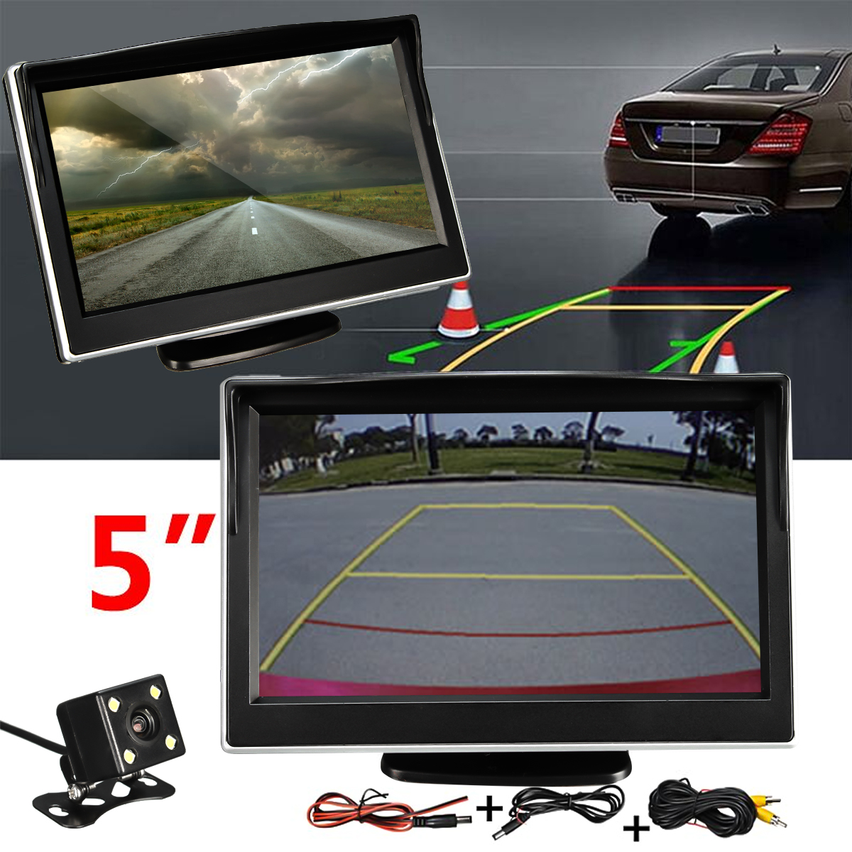 Waterproof Headrest Car Monitor 5 inch TFT LCD Display Auto Parking Rear View Backup Camera 170 Degree Reverse Cam Night Vision