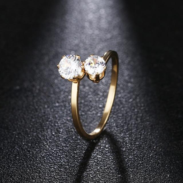 DOTIFI 316L Anéis Para As Mulheres de Aço Inoxidável Duplo Zircon Anel de Noivado Casamento Jóias