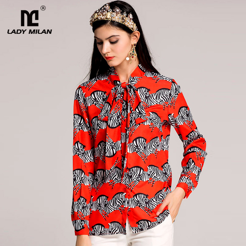 New Arrival 2018 Spring Womens Bow Collar Long Sleeves Zebras Printed Fashion Designer Shirts