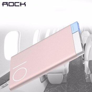 ROCK Ultra-delgada de 10000 mAh Banco de la energía de ROCK delgado portátil de aleación de Metal banco de potencia de la batería 10000 Mah