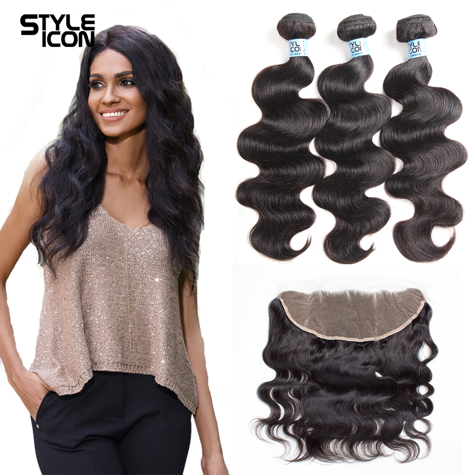 Styleicon Body Wave 3 Bundles With Frontal Closure Peruvian Hair Bundles With Frontal Closure 13x4 Non Remy Hair Extension
