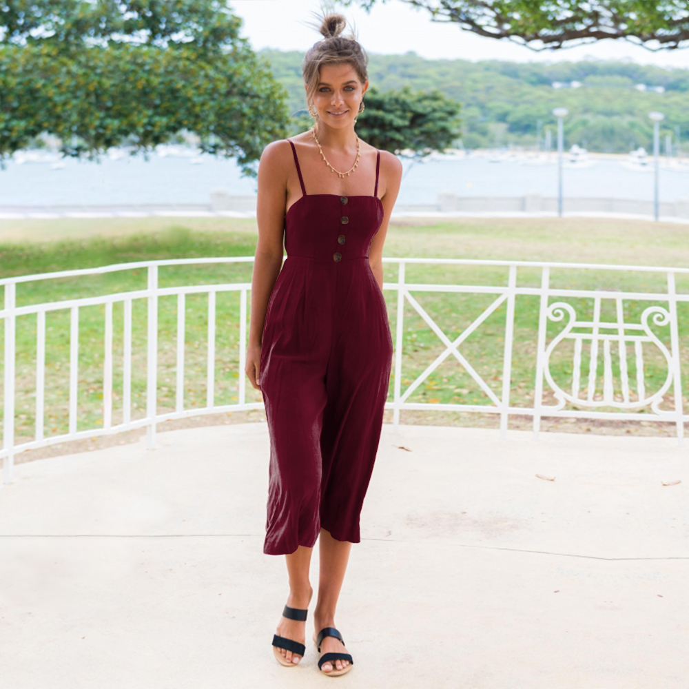 a23ccbed866 2019 ELSVIOS Cut Out Back Knot Jumpsuit Women 2018 New Summer Bow ...