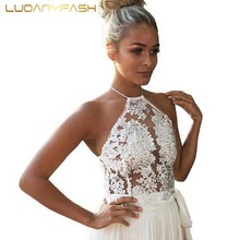 2016 white lace crop top Summer beach backless emboridery tops Sexy camis gauze metallic women tank top FA0299