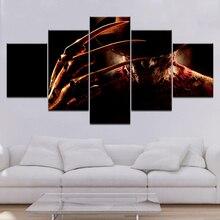 5 Piece Canvas Art HD Print Freddy Krueger Horror Movie A Nightmare on Elm Street Poster Paintings For Living Room Wall Decor printio a nightmare on elm street 3
