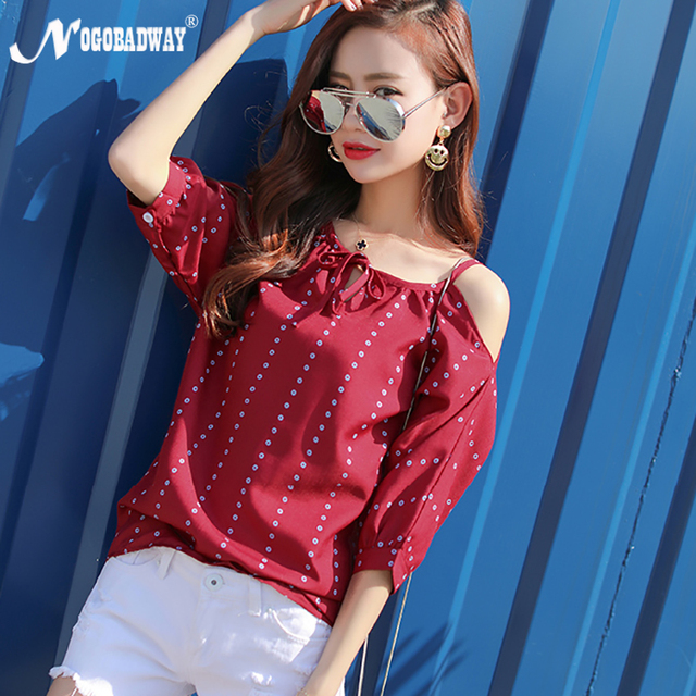 e167243ec18d0 NOGOBADWAY 2018 Summer t-shirt lady casual off shoulder tops cute half  sleeve polka dots white tshirt red women vintage clothing