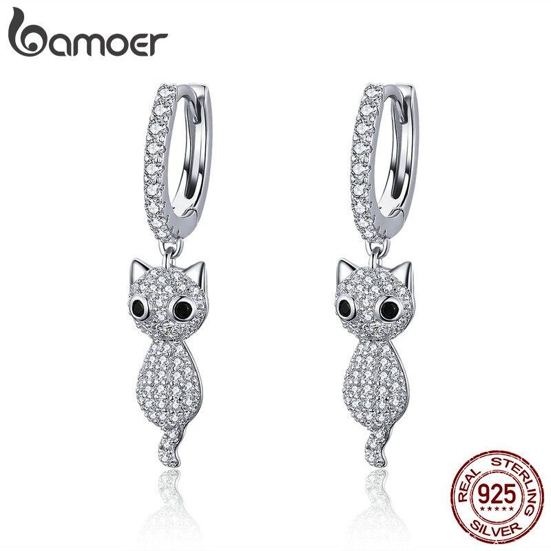 b205765f8 Detail Feedback Questions about BAMOER 925 Sterling Silver Cute Cat Crystal  Pussy Dazzling Cubic Zircon Drop Earrings for Women Sterling Silver Jewelry  ...