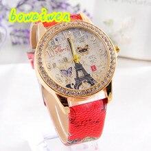 Irisshine i0220 Mulheres relógios Lady Moda Paris Estilo Torre Borboleta Relógio De Couro PU Da Menina
