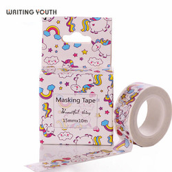 Unicórnio Kawaii Washi Tape Diy Fita Decorativa 15mm * 10 m Washitape Mascaramento Fitas Adesiva Decorada Bonito Adesivo Decorativo fita