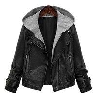 XL, XXL, 3XL, 4XL, 5XL בתוספת גודל נשים מעיל סלעית PU עור אופנוע שחור קצר סגנון קלאסי סתיו חורף Jackects