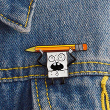 High Quality Cartoon Anime Funny Novelty Sponge Baby And Pencil Brooch Badge Button Clothing Denim Jacket Backpack Child Gift(China)