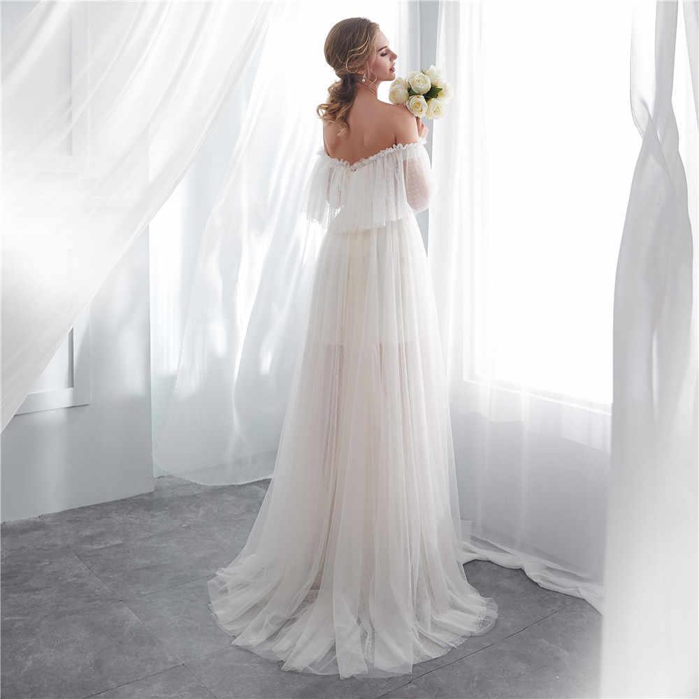 פשוט קיץ חתונה עם רעלה טול קפל כבוי כתף שושבינה חתונת אורחים שמלות 2019 vestidos דה novia playa