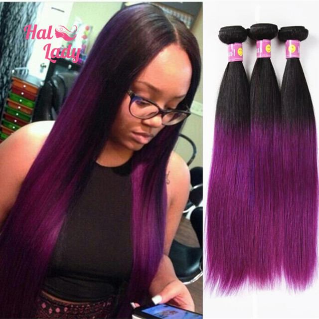 7A Ombre Straight Hair Extensions 3pcs Lot Brazilian Human