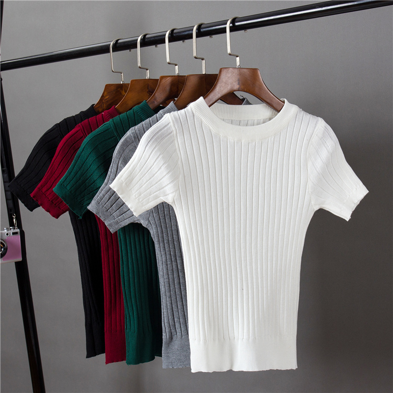 Women's O-neck Knitted Short Sleeve Solid Thin T-shirts Girls Knitting Stretchy Sweater Pullovers Tees Top For Female