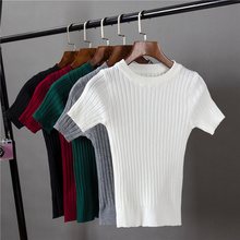 Women's O-neck Knitted Short Sleeve Solid Thin T-shirts Girls Knitting Stretchy Sweater Pullovers