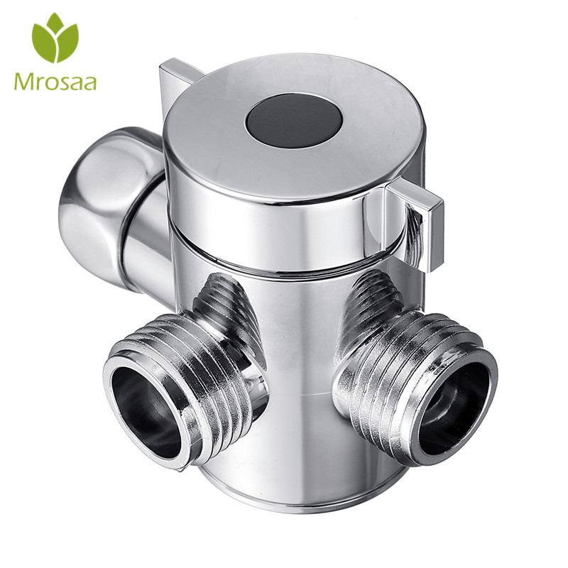 Chrome 3 Way Tee Connector Shower Head Diverter Valve G1/2 Three Function Switch Adapter Valve Adjustable Shower Arm Mounted