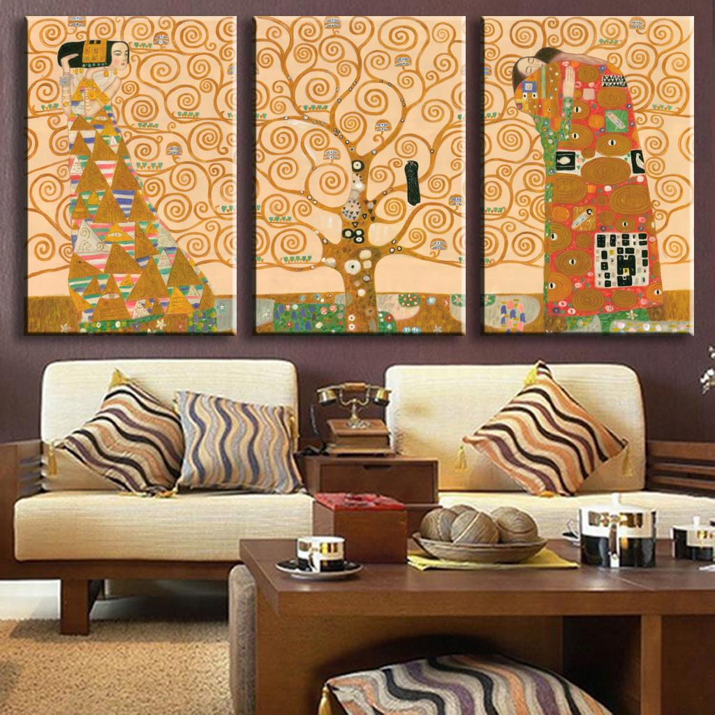 3 Pictures Hand Paint Replica Of The Tree Of Life From Gustav Klimt picture cuadros abstractos gustav klimt painting