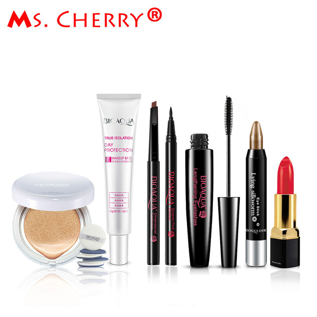 Sexy Red Make up Set BB Cream Air Cushion Cream Eyebrow Pencil Eyeliner Mascara Lipstick Kits for Lady Sexy Queen MB003