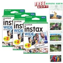 Echte Neue Fujifilm Instax Breite Film Weiß 60 Fotos für Instant Foto Papier Kamera Instax Breite 200 210 300 mit album Geschenk