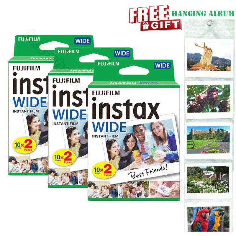 Véritable nouveau Fujifilm Instax large Film blanc 60 Photos pour Photo instantanée papier caméra Instax large 200 210 300 avec Album cadeau