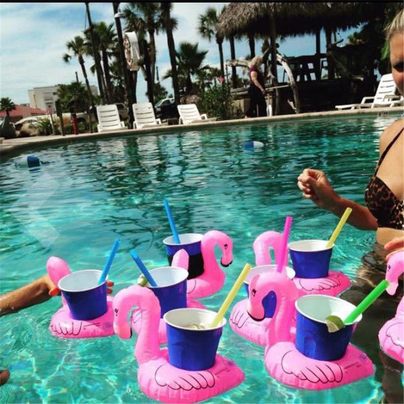 2PCS Mini Flamingo Floating Inflatable Coasters Drink Cell Phone Holder Stand Pool Event & Party Decoration Toy For Kids MI4