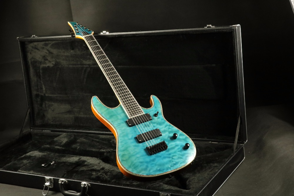 Quality quilted maple top string through body ebony fretboard 7 string electric guitar free shipping