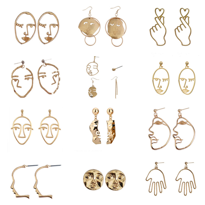 Simple Metal Abstract Art Face Earrings New Fashion Ms Gold Earrings Retro Wacky Expressions Stud Earrings Fashion Woman Earring