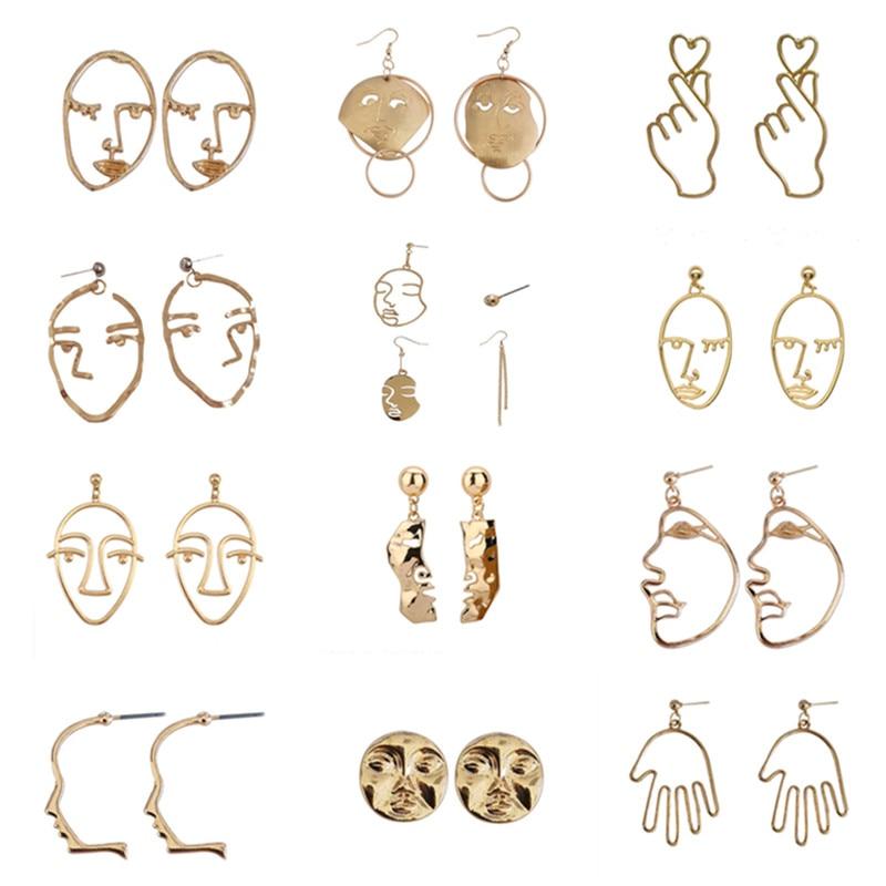 Simple Metal Abstract Art Face Earrings New Fashion Ms Gold Earrings Retro Wacky Expressions Stud Earrings Fashion Woman Earring