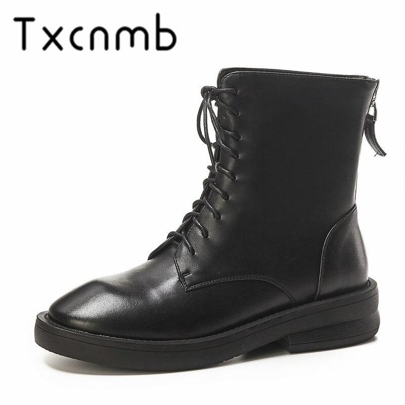 TXCNMB 2019 Stiefel Frauen Stiefeletten für Frauen Winter Echtem Leder High Heel Lace up Schuhe Frau Größe 40-in Knöchel-Boots aus Schuhe bei  Gruppe 1