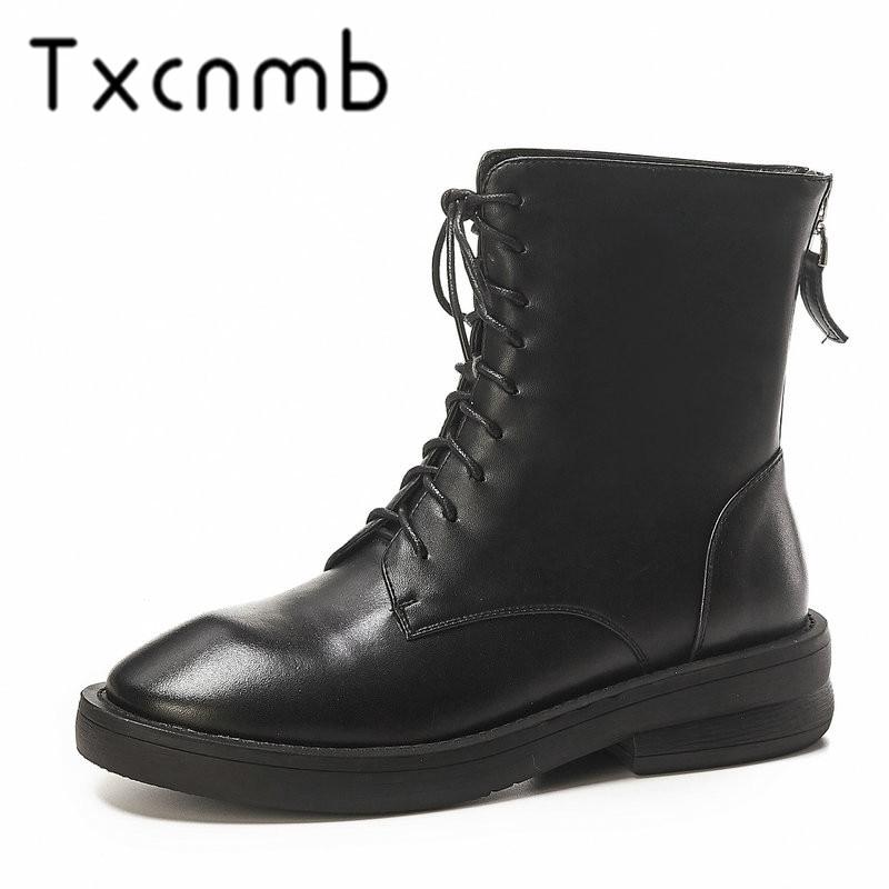 TXCNMB 2019 botas de tobillo de mujer botas de invierno de cuero genuino de tacón alto de encaje zapatos de mujer talla 40-in Botas hasta el tobillo from zapatos    1