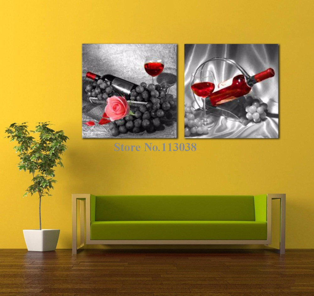 Free Shipping 2 Panels Romantic Rose Red Wine Fruit Printed Canvas ...