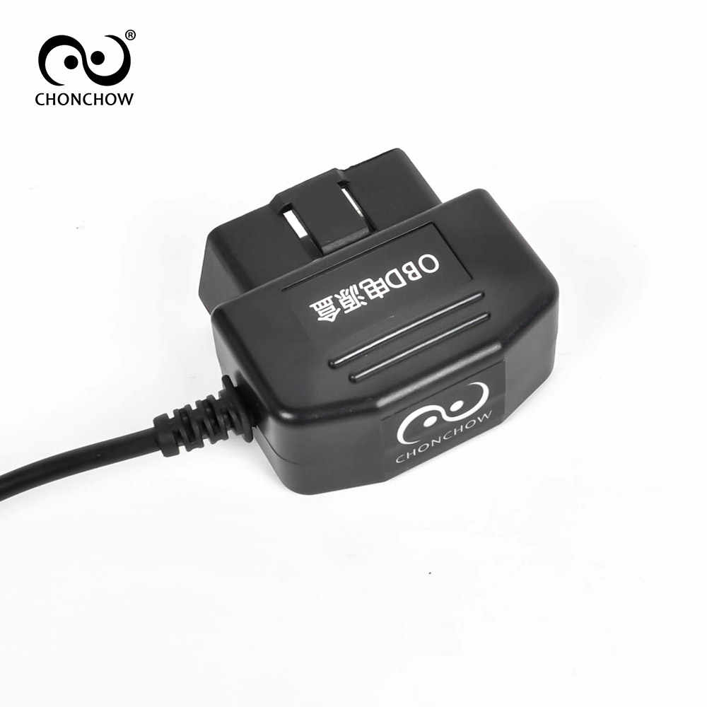 ChonChow Car Charger OBD DC Converter Module 12V 24V to 5V 2A with USB Cable, Low Voltage Protection, Cable Length 3.5m 11.48ft