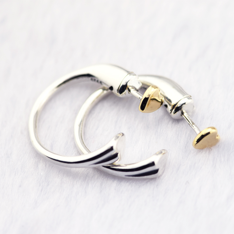 Real 14K Gold Two Hearts Hoop Earrings Authentic 925 Sterling Silver Jewelry Wedding Earrings for Women Valentines Day Gift