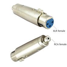Zinc Alloy Cannon 3Pin XLR Female To RCA Jack Lead Audio Microphone Adapter