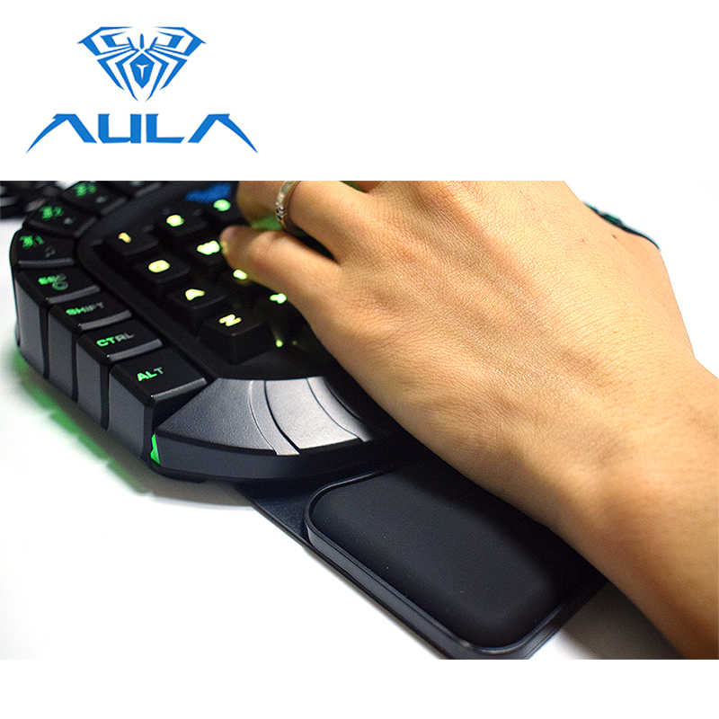 31335513532 ... AULA One Handed Gaming Keyboard Wired Single Hand RGB LED Backlight  Keypad Blue Switch Wrist Rest ...