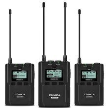 CoMica CVM-WM200A 96 Channels UHF Wireless Microphone 2 Transmitters 1 Receiver Mic for Smartphone DSLR Camera Multiple Devices digitalfoto comica cvm d03 dual head lavalier removeable smartphone dslr camera microphone mic recorder for interview meeting