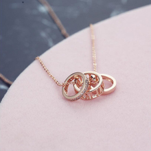 2017 New Brand Rose Gold Color Necklace For Women Love Circle Crystal Roman Numerals Double Pendant Party